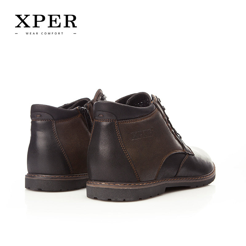 Autumn Winter Men Shoes Boots Casual Fashion High-Cut Lace-up With Fur