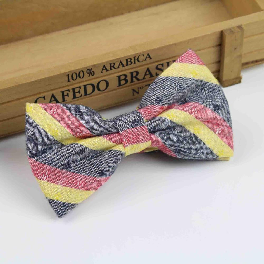100% Cotton Soft Striped Rainbow Double Fracture Butterfly Men Bow Ties
