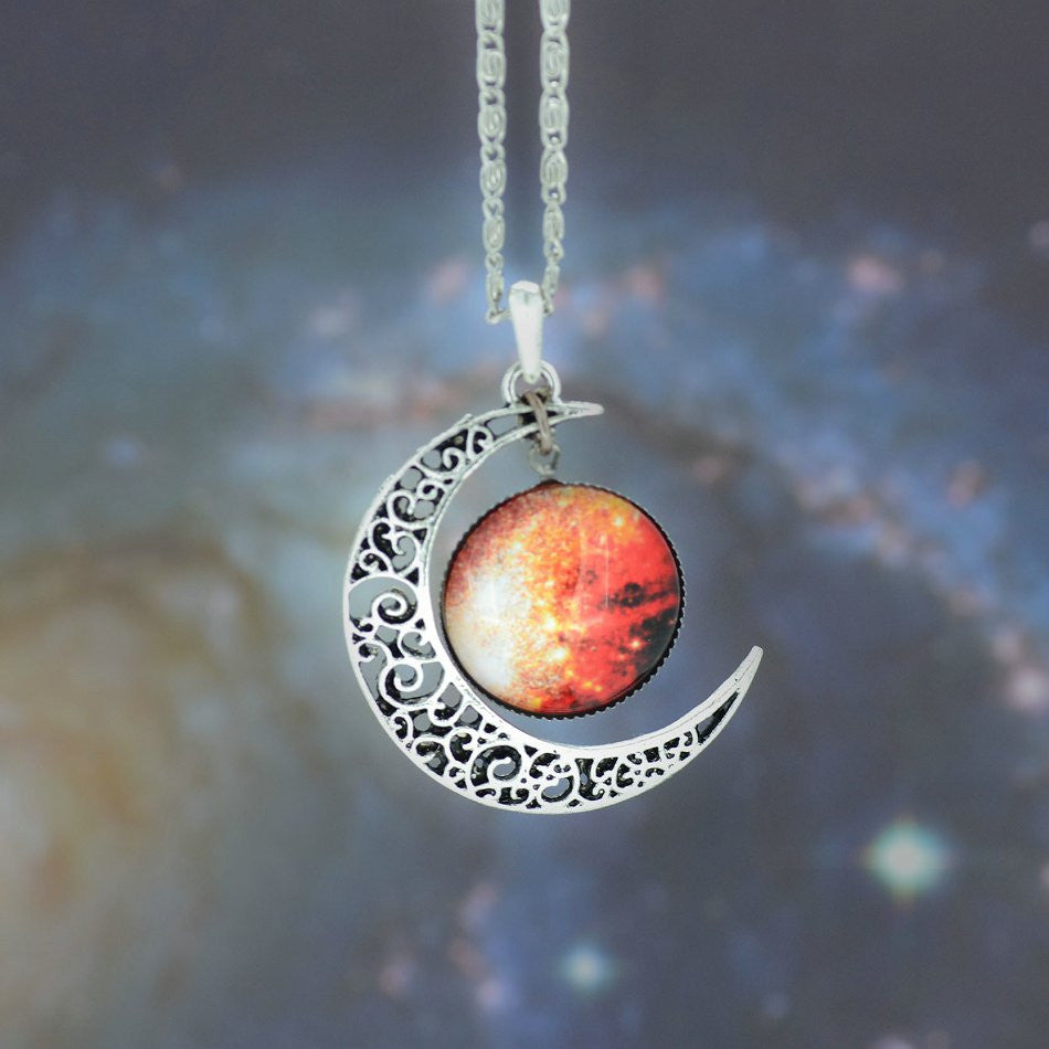 Brand  Silver Color Jewelry Fashion Moon Statement Necklace Glass Galaxy Collares