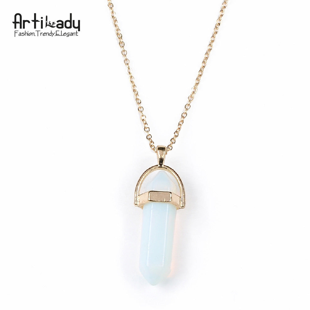 women pendants quartz rock color locket chakra hexagonal wholesale necklaces prism gemstone natural mens chains pendant point long crystal necklace product stone healing