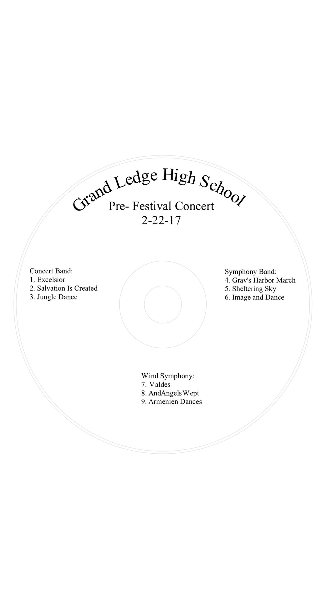 Grand Ledge High School Concert Band, Symphonic Band, and Wind Ensemble