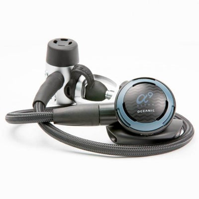 New Oceanic Alpha 9 CDX5 Scuba Diving DVT Yoke Regulator (Slate Blue) with FREE Upgrade to 30 Inch (76.2cm) Black MaxFlex Braided Hose