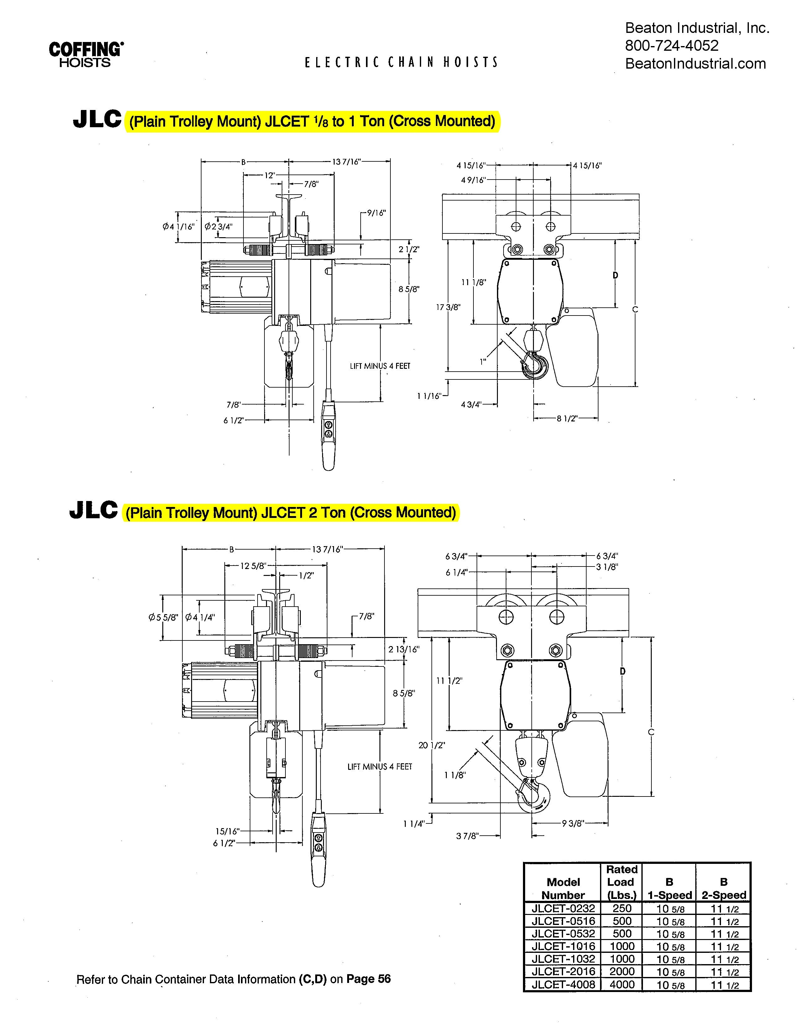 century ac motor wiring diagram 115 230 volts jlc0516 - coffing 1/4 ton electric chain hoist - 16fpm ... coffing hoist wiring diagram 115 volt