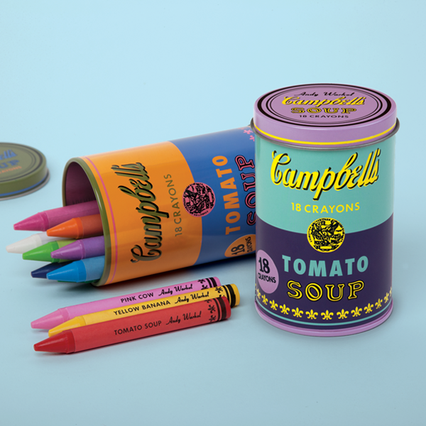 Open up this deliciously creative tin can inspired by the iconic Andy Warhol piece to reveal 18 Warhol-inspired crayons!⁠
