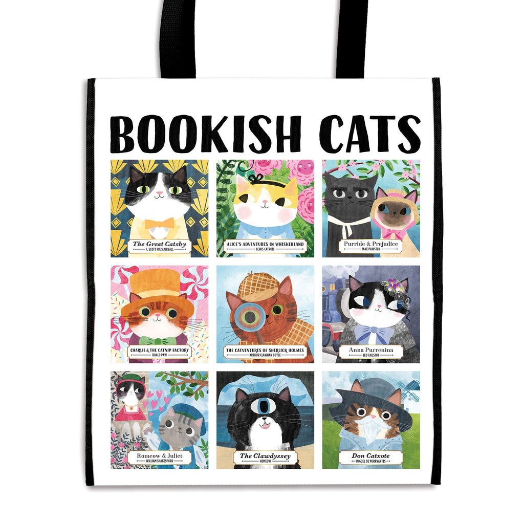 Bookish Cats Reusable Shopping Bag Tote Bags Bookish & Artsy Cats Collection