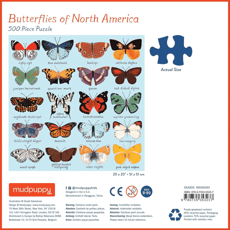 Butterflies Of North America 500 Piece Puzzle Family Puzzles Mudpuppy