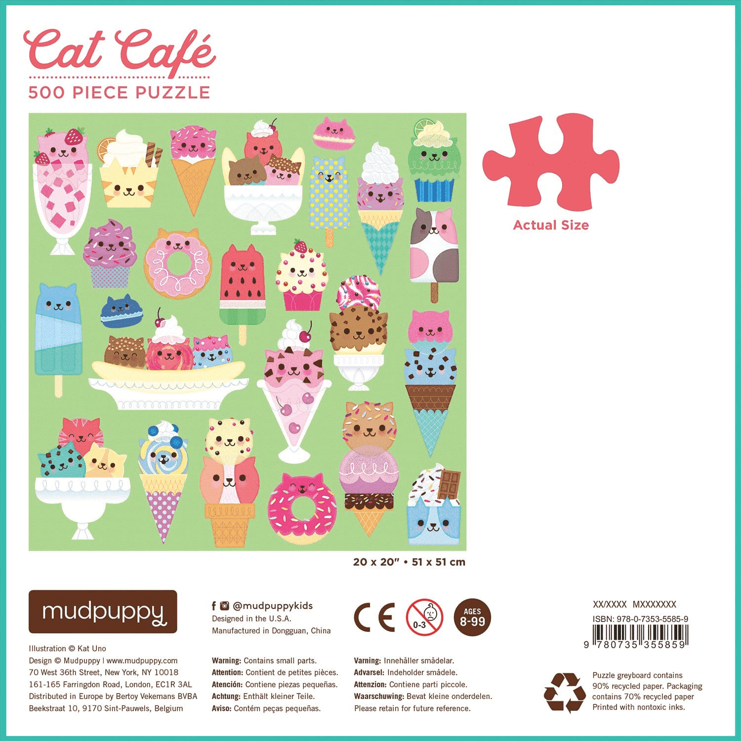 Cat Cafe 500 Piece Puzzle Family Puzzles Mudpuppy