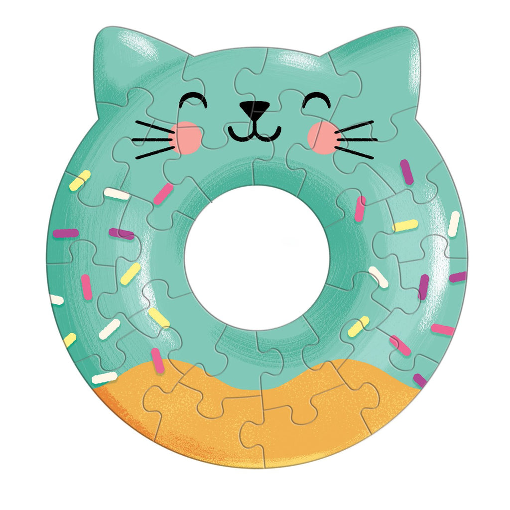Cat Donut Shaped Mini Puzzle Shaped Mini Puzzles Mudpuppy