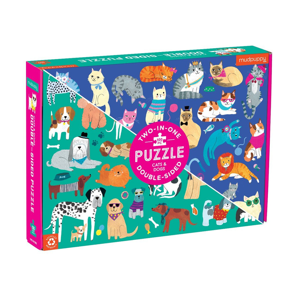 Cats & Dogs 100 Piece Double-Sided Puzzle 100 Piece Double-Sided Puzzles Mudpuppy