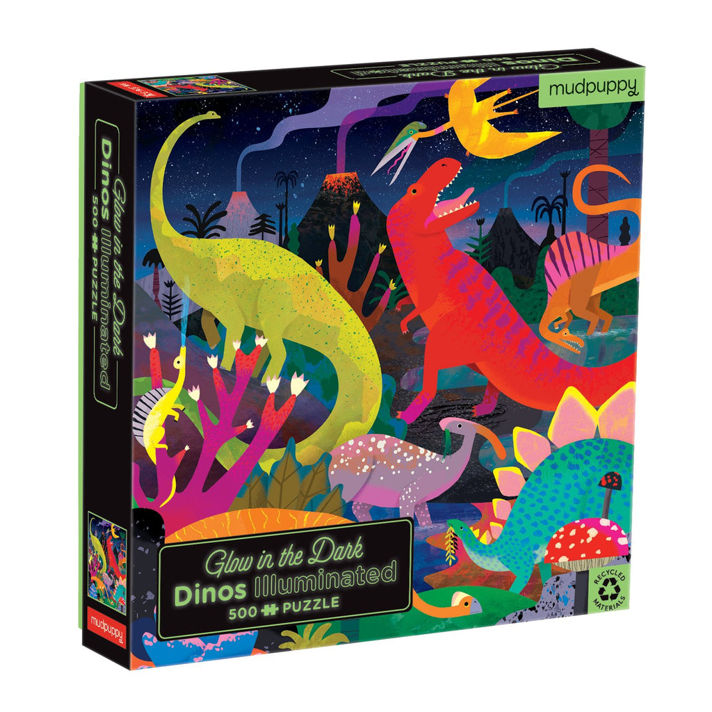 Dinosaurs Illuminated 500 Piece Glow in the Dark Family Puzzle Glow in the Dark Puzzles Mudpuppy
