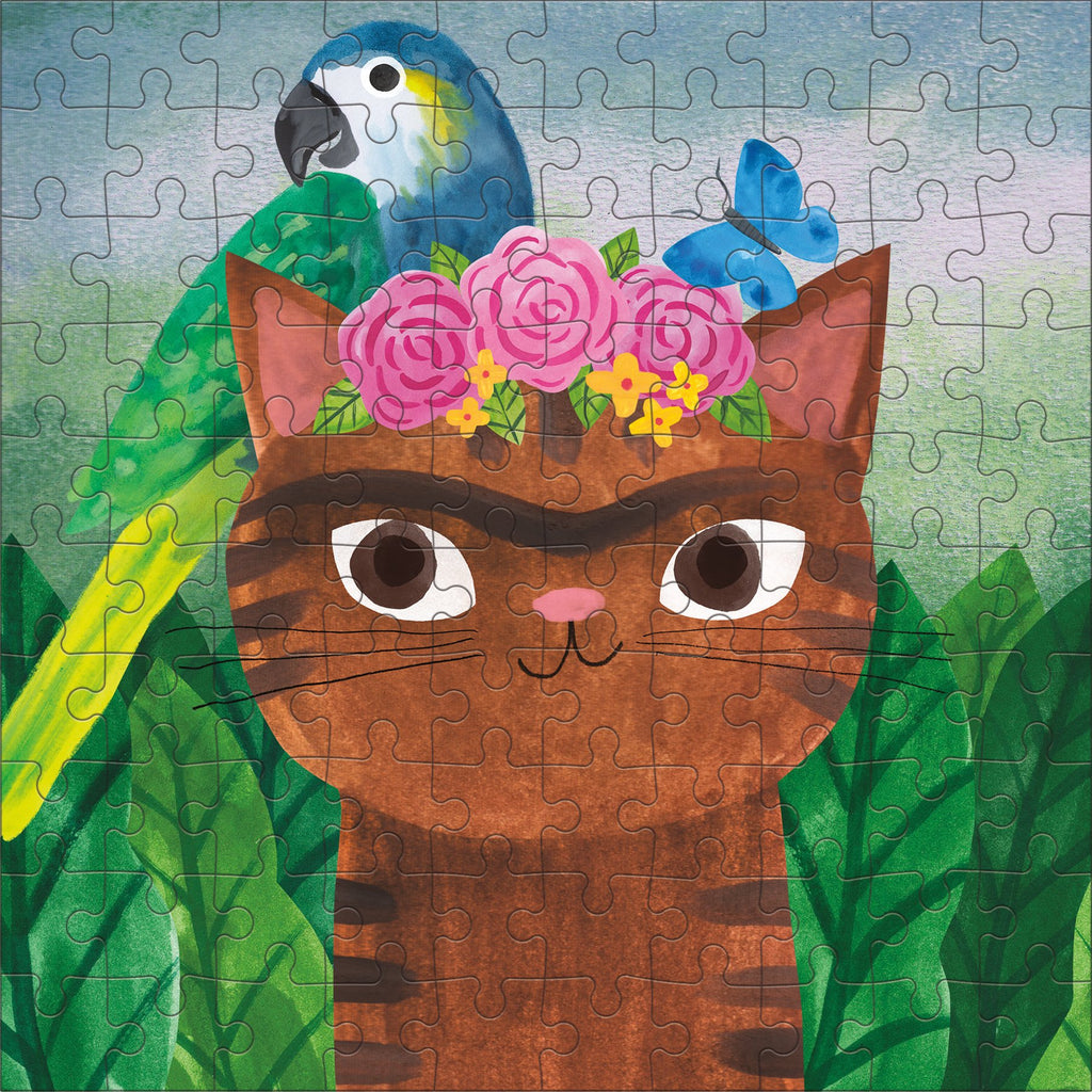 Frida Catlo Artsy Cats 100 Piece Puzzle Tin Artsy Cats Puzzle Tins Mudpuppy