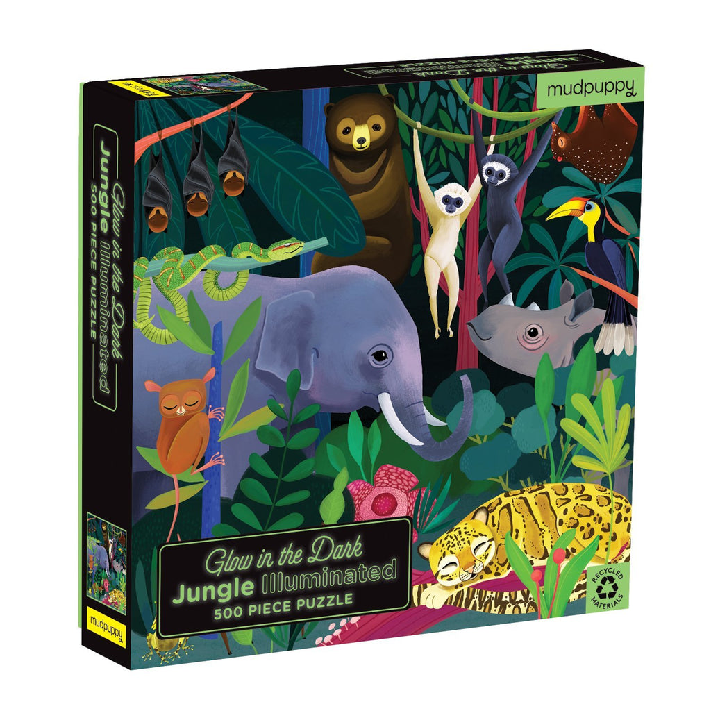 Jungle Illuminated 500 Piece Glow in the Dark Family Puzzle Family Puzzles Mudpuppy