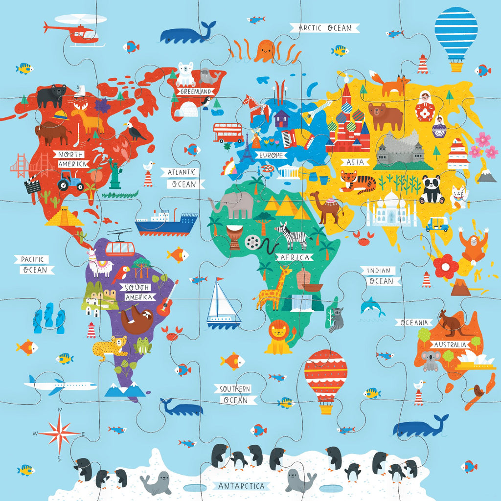 Map of the World Jumbo Puzzle Jumbo Puzzles Mudpuppy