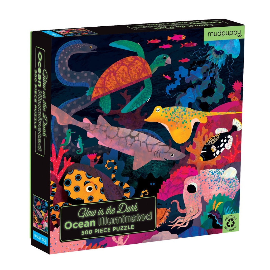 Ocean Illuminated 500 Piece Glow in the Dark Family Puzzle 500 Piece Glow in the Dark Family Puzzles Mudpuppy