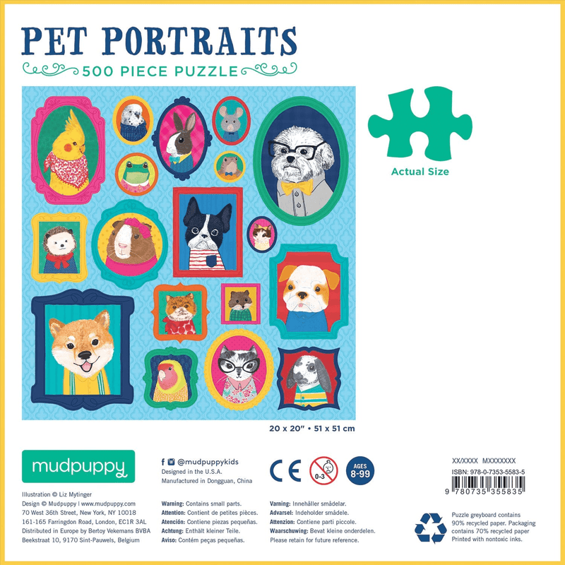 Pet Portraits 500 Piece Puzzle Family Puzzles Mudpuppy