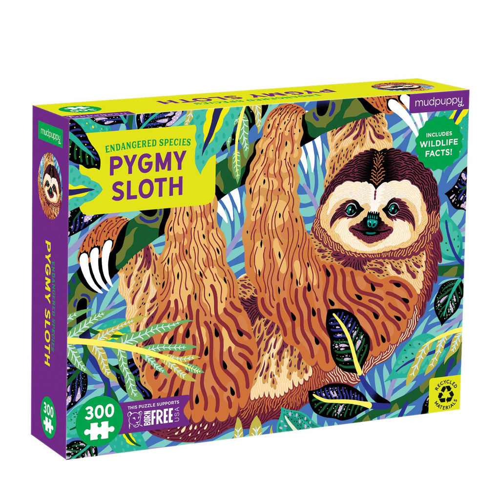 Pygmy Sloth Endangered Species 300 Piece Puzzle 300 Piece Puzzles Mudpuppy