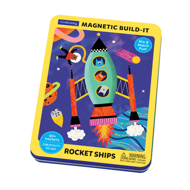 Rocket Ships Magnetic Build-it Magnetic Tin Playsets Mudpuppy
