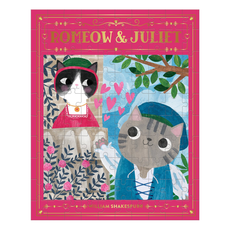 Romeow & Juliet Bookish Cats 100 Piece Puzzle Bookish Cats Puzzles Bookish & Artsy Cats Collection