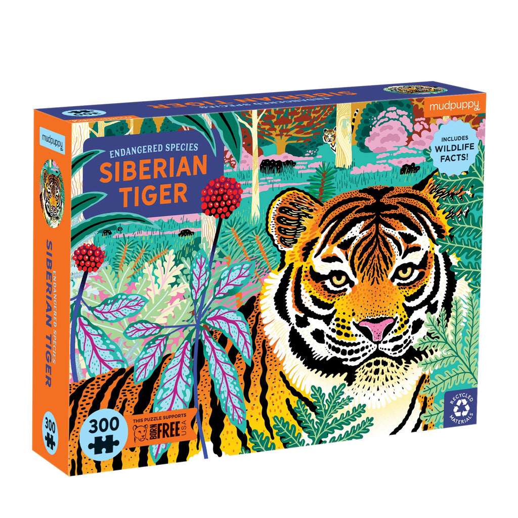 Siberian Tiger Endangered Species 300 Piece Puzzle 300 Piece Puzzles Mudpuppy