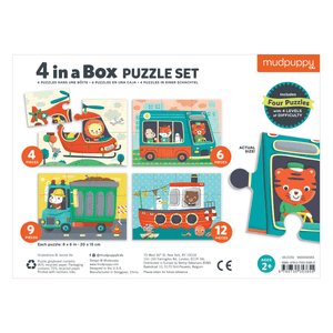 Transportation 4-In-a-Box Progressive Puzzle 4-In-a-Box Progressive Puzzles Mudpuppy