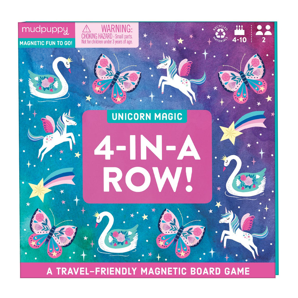 Unicorn Magic 4-in-a-Row Magnetic Board Game Board Games Mudpuppy
