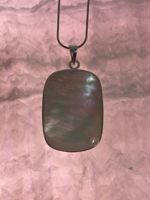 Silver Mother Of Pearl Necklace (Rectangle) - CuartoAstral
