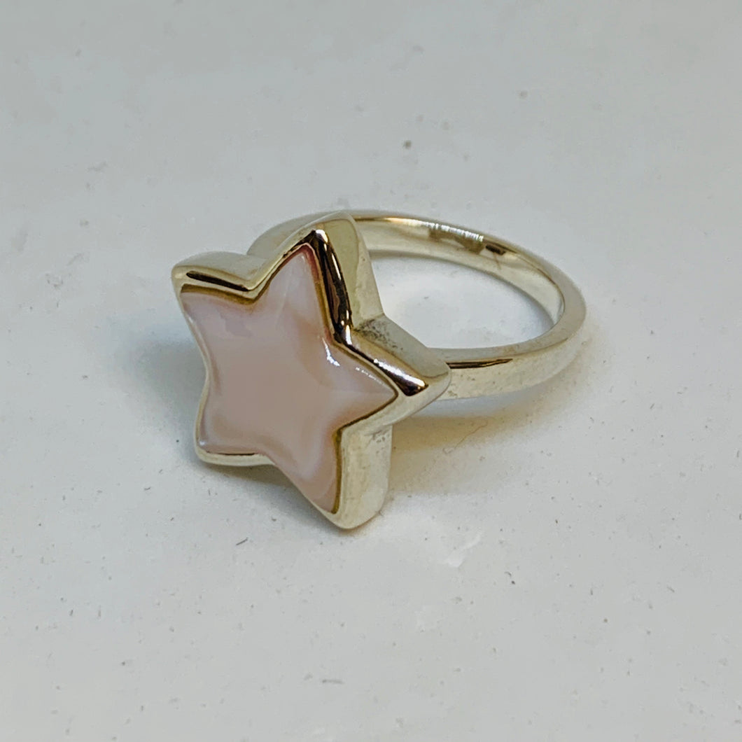Silver Mother Of Pearl Ring (Star)