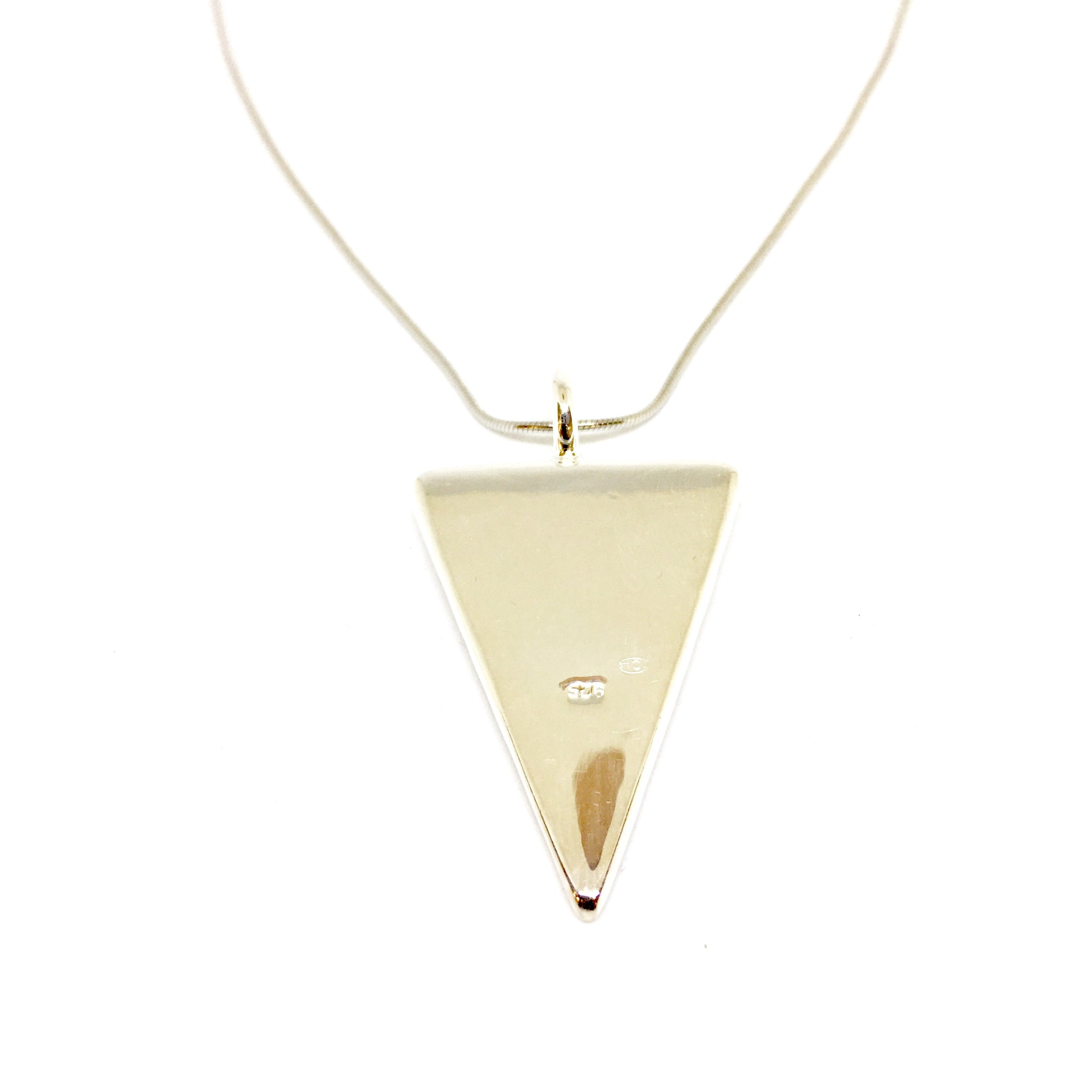 Silver Mother Of Pearl Necklace (triangle) - CuartoAstral