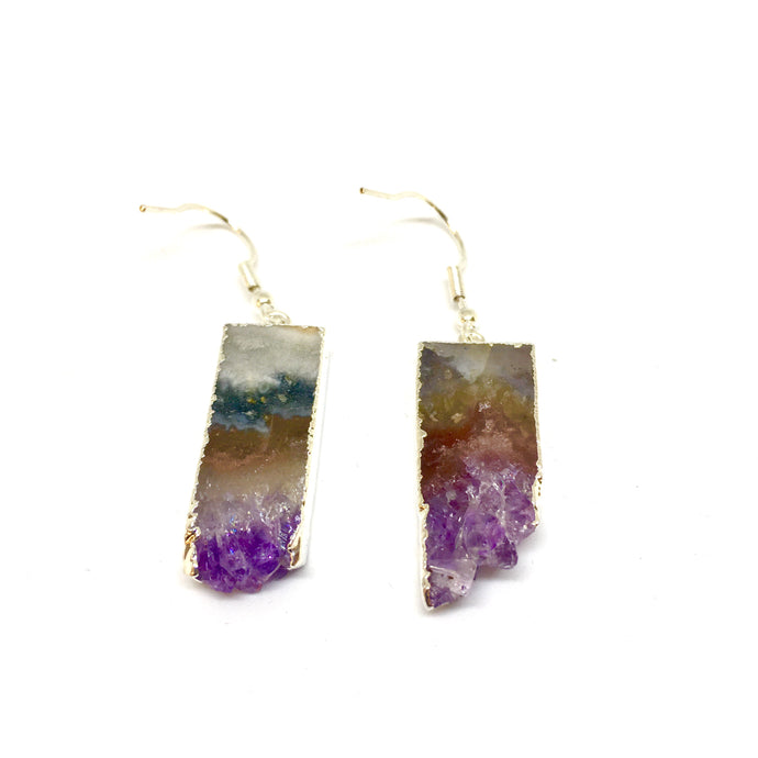 Purple Amethyst Uruguayan Sliced Earrings - CuartoAstral