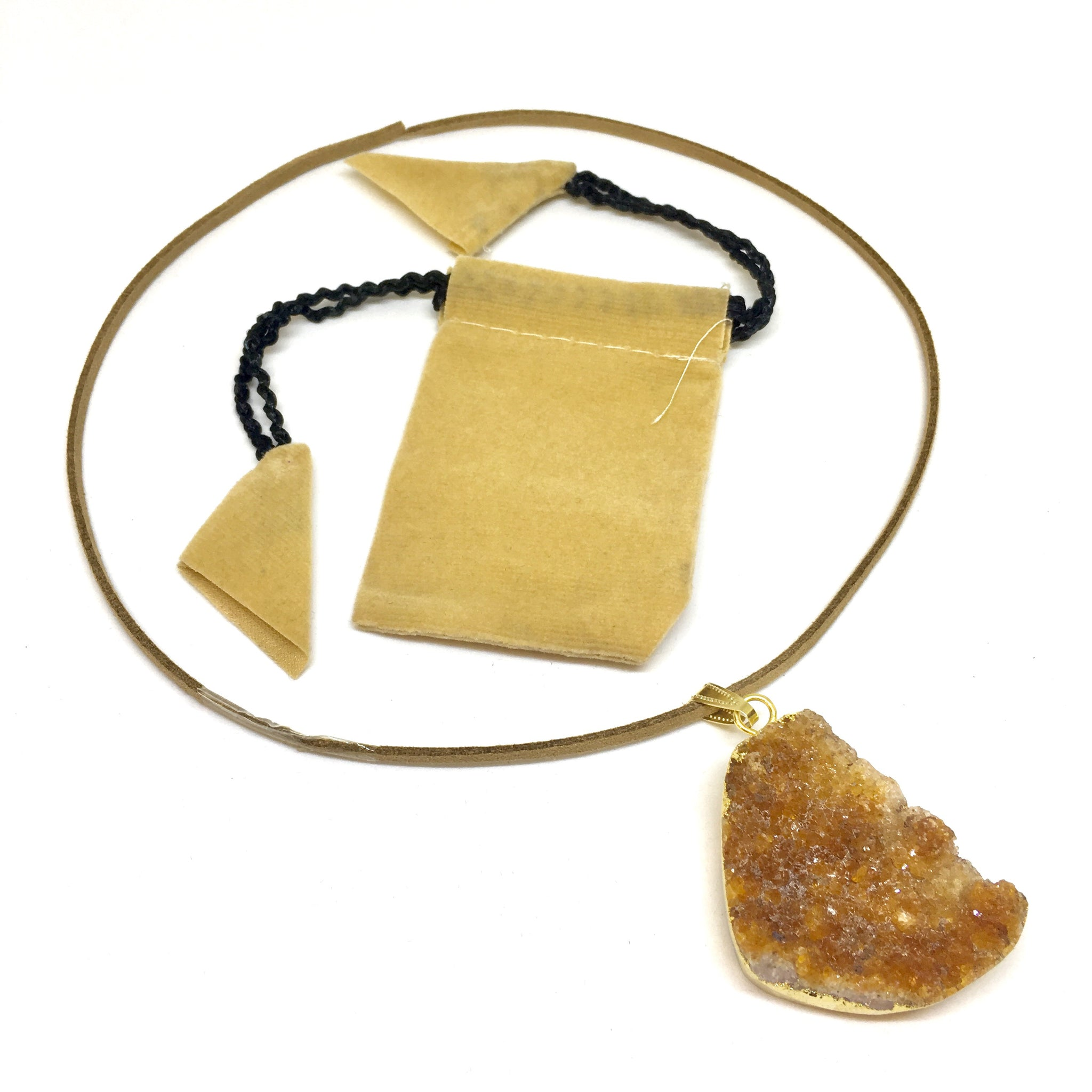 Orange Citrine Cluster Pendant - CuartoAstral