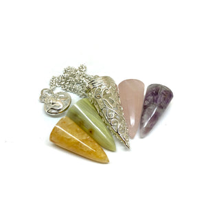 Natural Gemstone Pendulum Set of 4