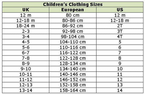 What is a European girls size 128 converted to US size?