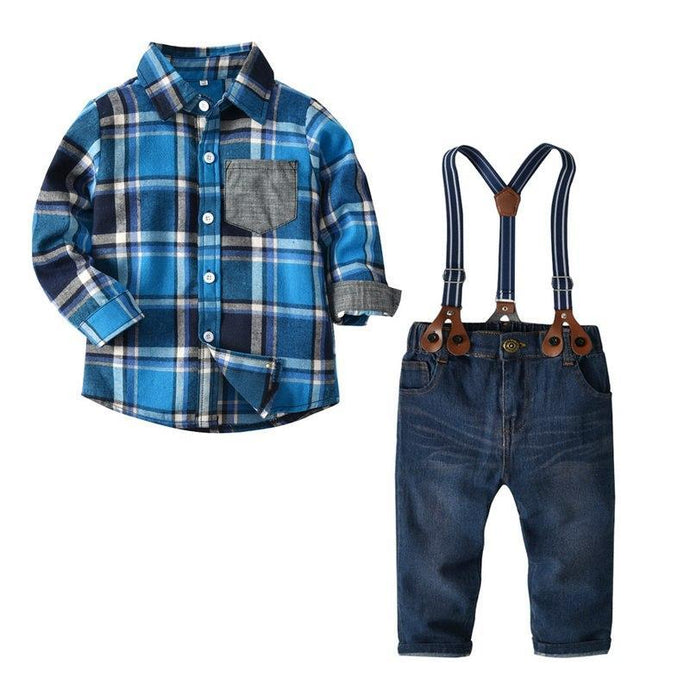 Plaid Long Sleeve Shirt & Suspender Jeans Set