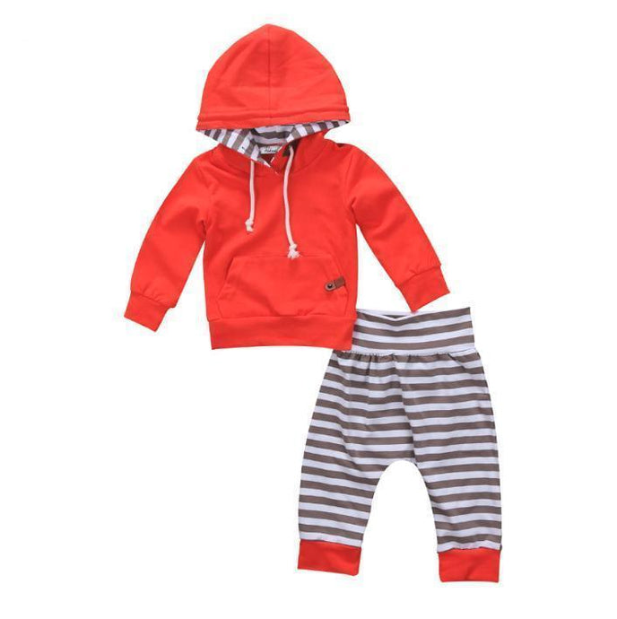 Red Hoodie & Striped Pants Set