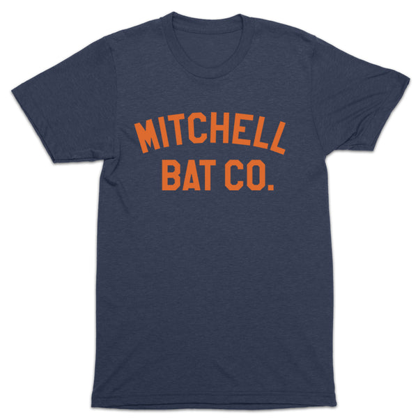 Mitchell Bat Co. short sleeve block tee (navy/orange)
