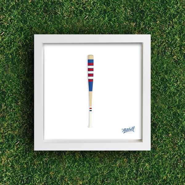 Mitchell Bat Illustration Poster (royal blue/red)