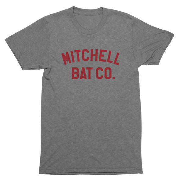 Mitchell Bat Co. short sleeve tee (gray/red block logo)