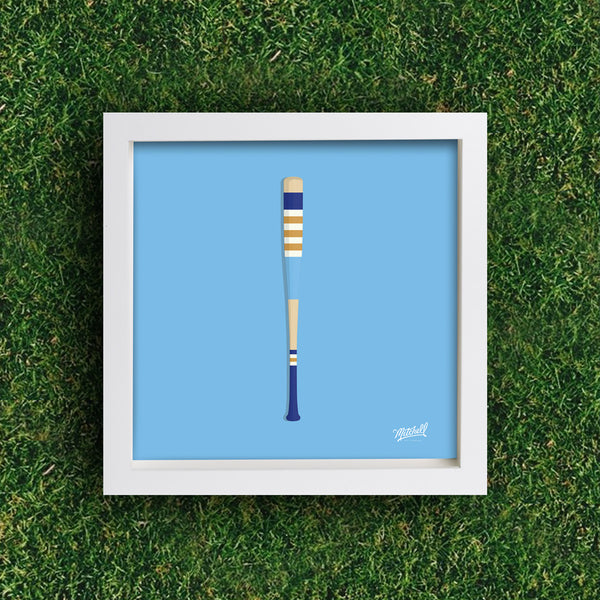 Mitchell Bat Illustration Poster (powder blue)