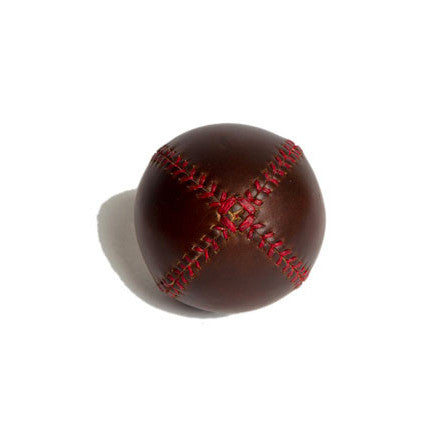 LEMON BALL™ baseball. Brown Horween Chromexcel Leather, Red Stitch