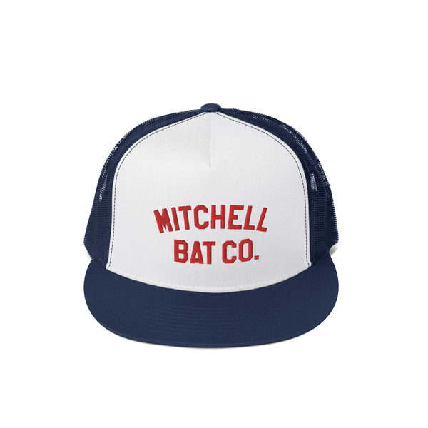 White Mitchell Bat Co. Mesh Cap (navy blue)