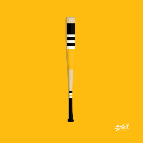 Mitchell Bat Illustration Poster (yellow/black)