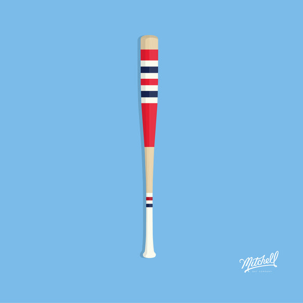 Mitchell Bat Illustration Poster (red/navy)