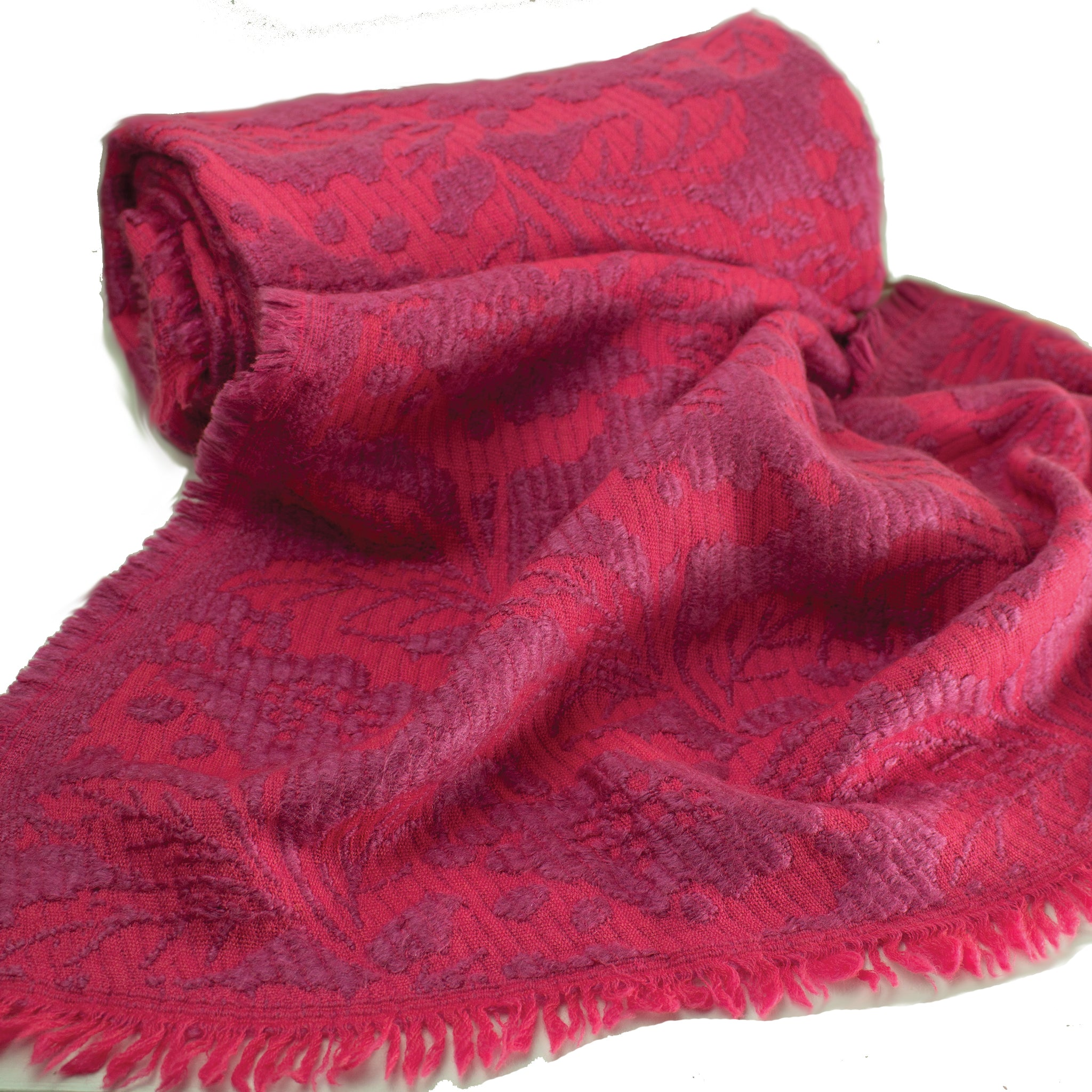 ne Quittez pas - Pink wrap / throw with lavender soft brocade Wool