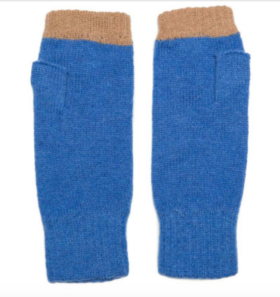 Green Thomas Fingerless Mitten pair Blue Camel