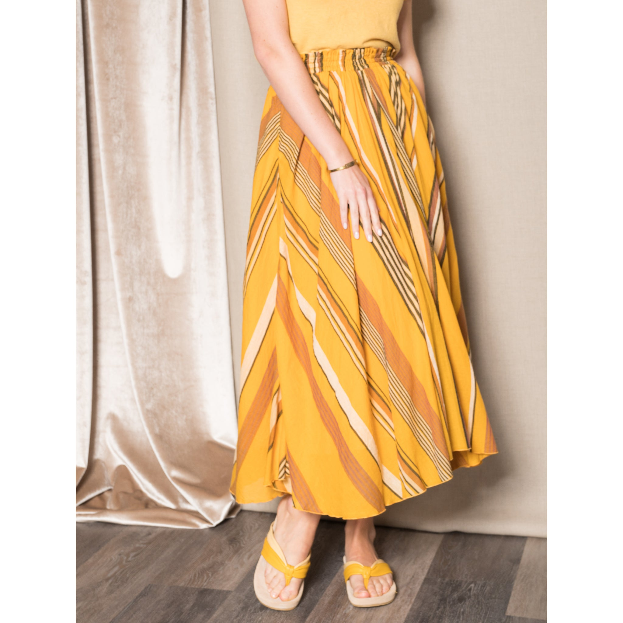 Ne Quittez Pas stripe mustard skirt