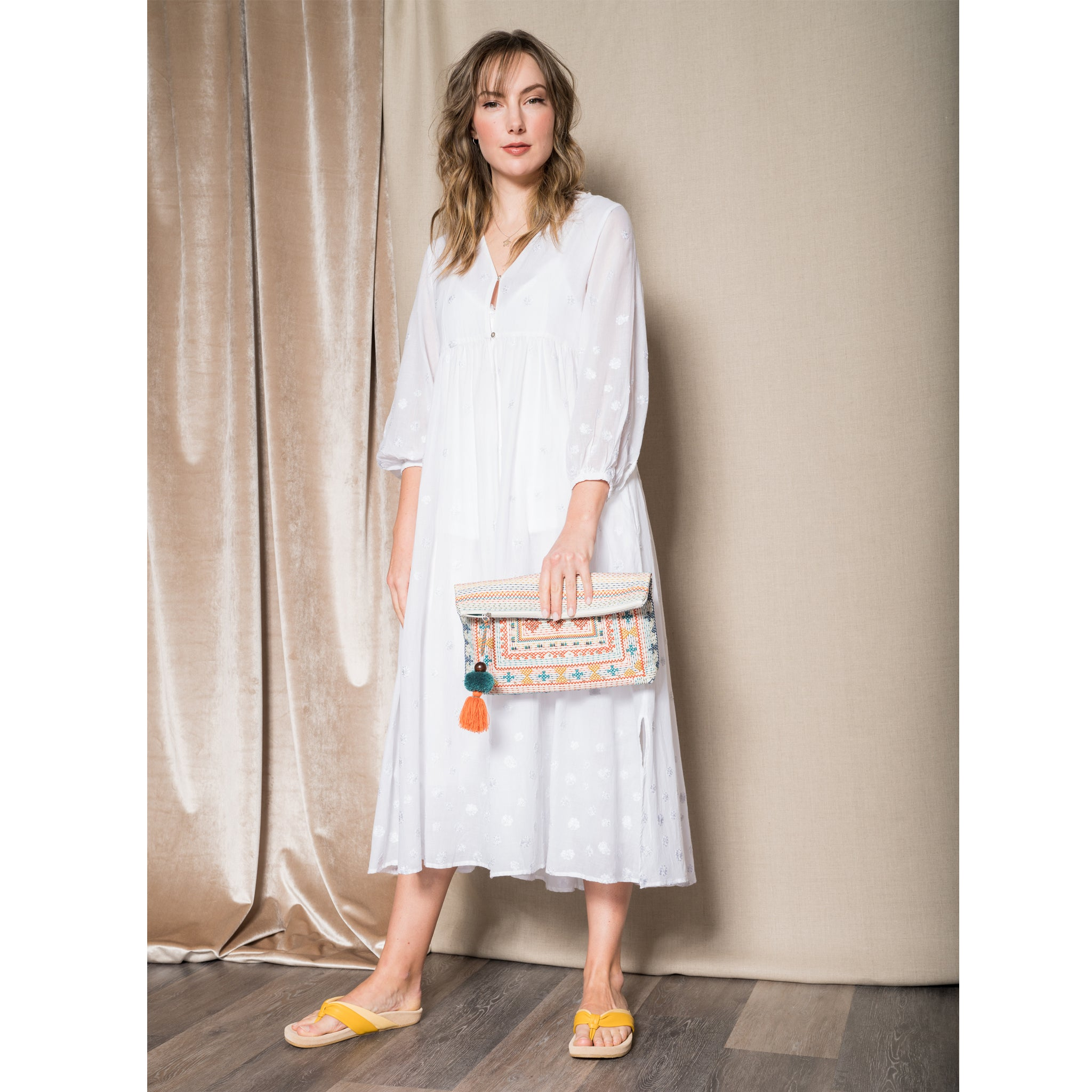 Ne Quittez Pas Embroidered White Dress