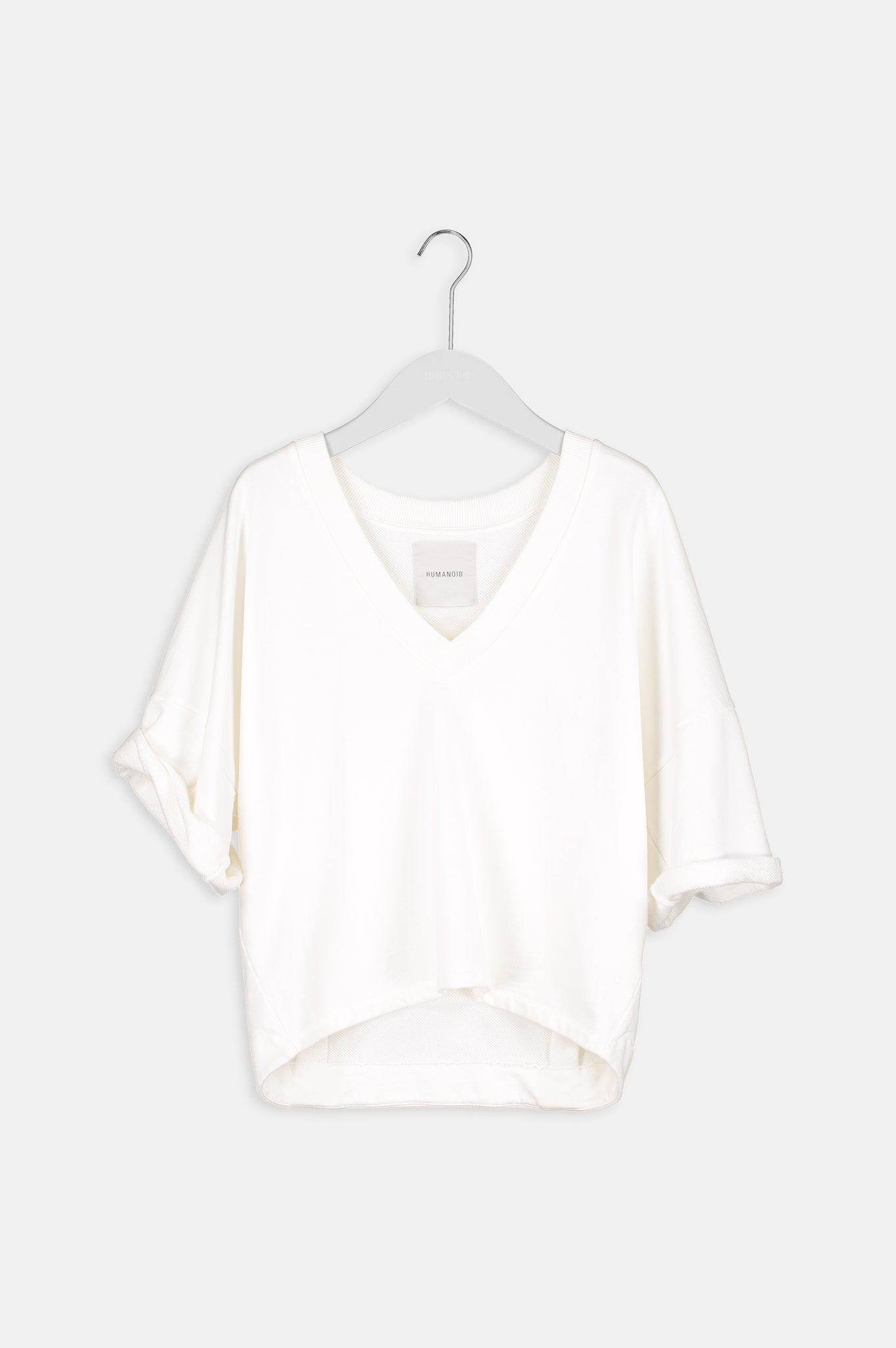 Humanoid BINDI IVORY short sleeve oversized V neck terry sweatshirt