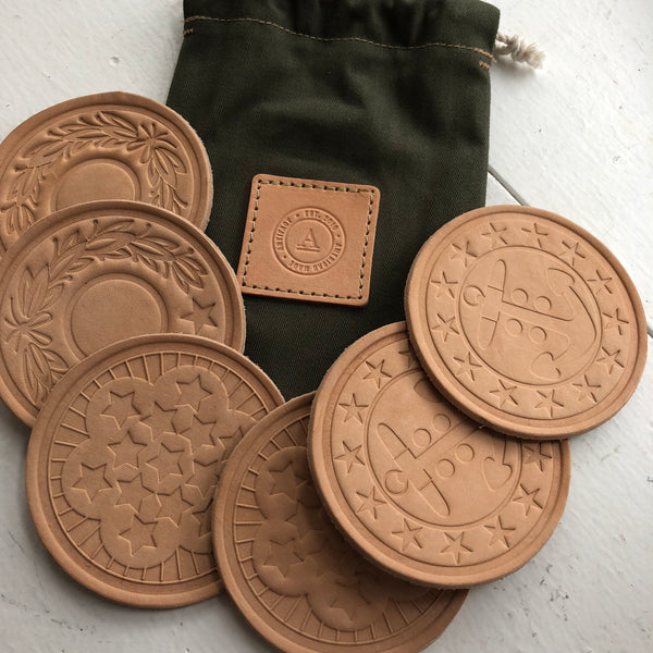 Artifact leather coasters