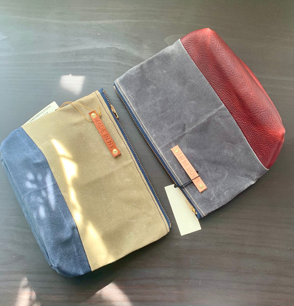 MADE IN NY Waxed cotton zip pouch