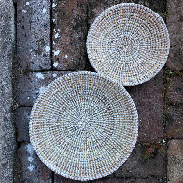 Senegal Flat bottom Baskets White with Natural